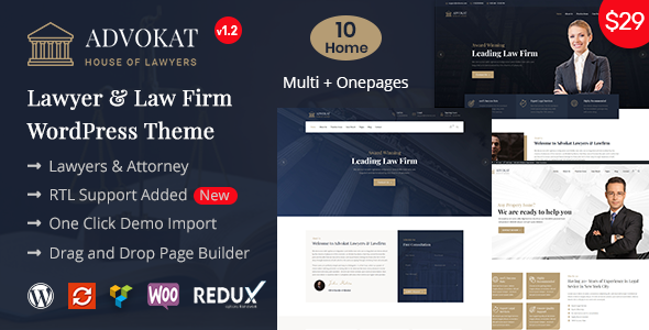 Advokat - Lawyer & Lawfirm WordPress Theme