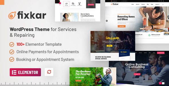 FixKar - A Services WordPress Theme (Elementor) with Online Payment System for Appointments