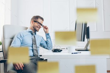 Successful businessman working in his office