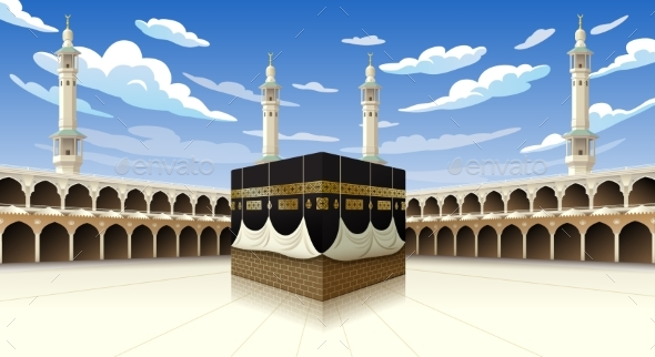 Panoramic of Kaaba for Hajj Steps in Al-Haram