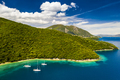 Yachts in the bay near the green island. Summer vacation, Greece, Kefalonia - PhotoDune Item for Sale