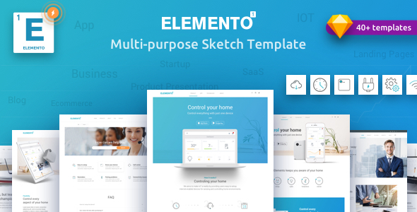 Elemento - Multi-Purpose Sketch Template for Startups