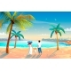Back View of a Happy Family on Tropical Beach - GraphicRiver Item for Sale