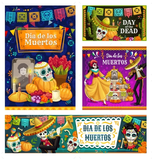 Day of the Dead Mexican Sugar Skulls and Skeletons