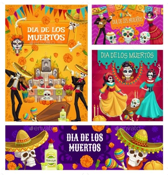 Day of Dead Altar Sugar Skulls Dancing Skeletons