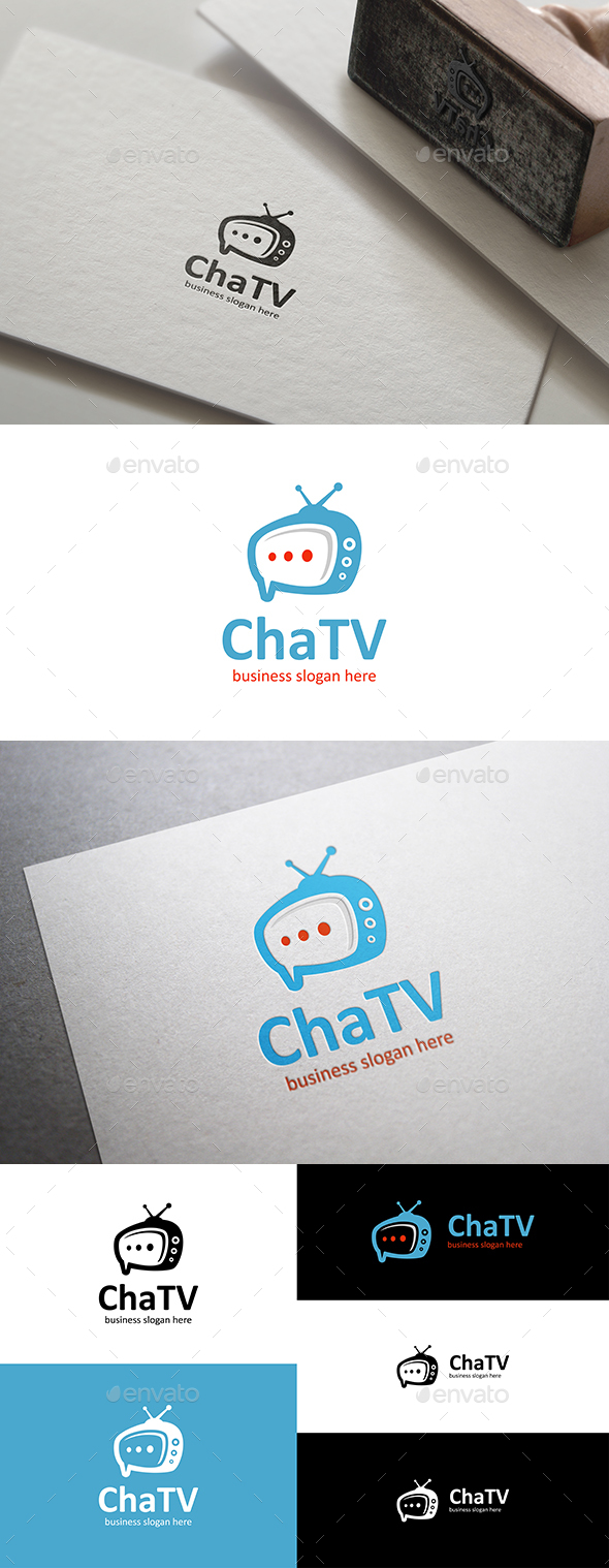 Chat Tv Logo Template with Speech Bubble