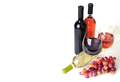 bottles of wine, wineglass and grapes - PhotoDune Item for Sale