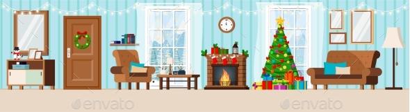 Cozy New Year Decorated Corridor Living Room