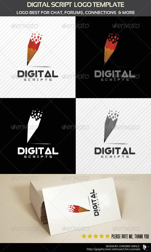Digital Script Logo Template