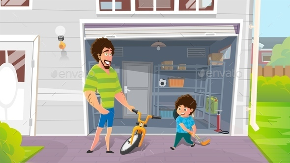 Boy with Fathers Repairing Broken Bicycle Vector