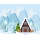 Winter Landscape with Decorated A-Frame House - GraphicRiver Item for Sale
