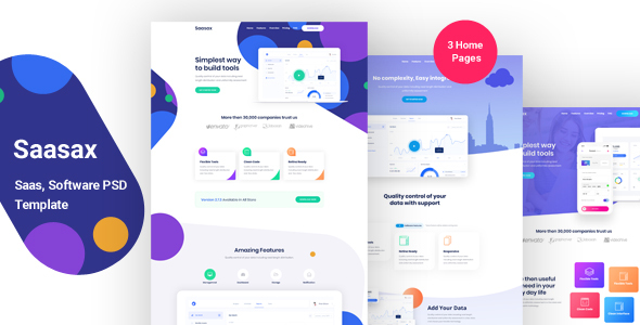 Saasax – Landing Page for App, Saas, Software