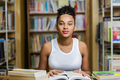 Black african american young girl student studying at the school - PhotoDune Item for Sale