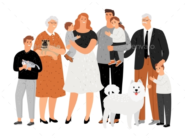 Cartoon Happy Family Portrait