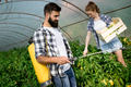 Young couple of farmers working in greenhouse - PhotoDune Item for Sale