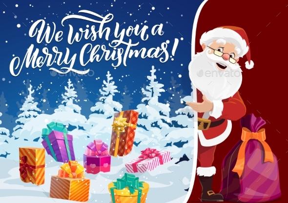 Winter Holiday Christmas Greeting Card Santa