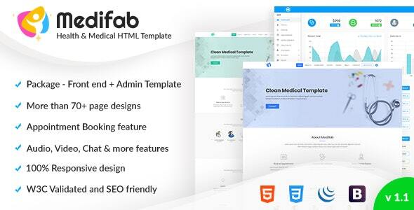 Medifab - Hospital, Clinic & Medical Appointment booking  Bootstrap 4 Template with Admin Dashboard