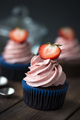 Chocolate cupcakes with strawberry meringue butter cream - PhotoDune Item for Sale