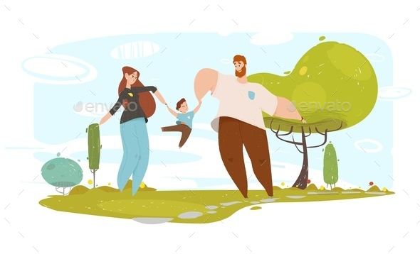 Happy Father and Mother Playing with Son in Garden