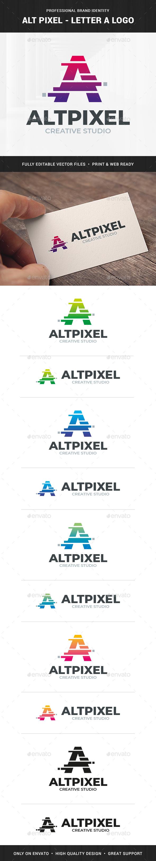 Alt Pixel - Letter A Logo