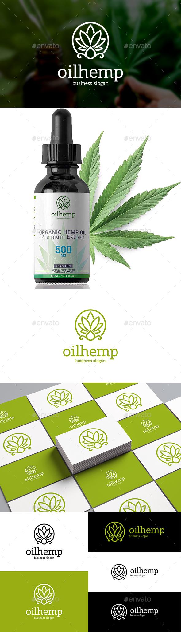 Cannabis Oil Logo Hemp Marijuana Leaf and Drop