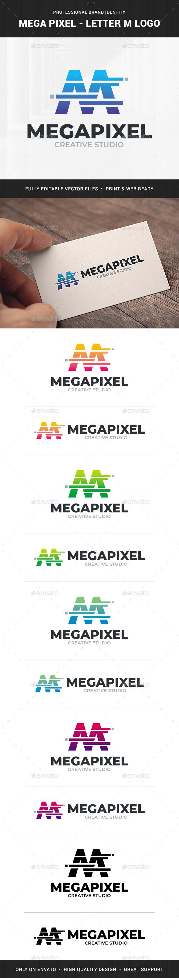 Mega Pixel - Letter M Logo