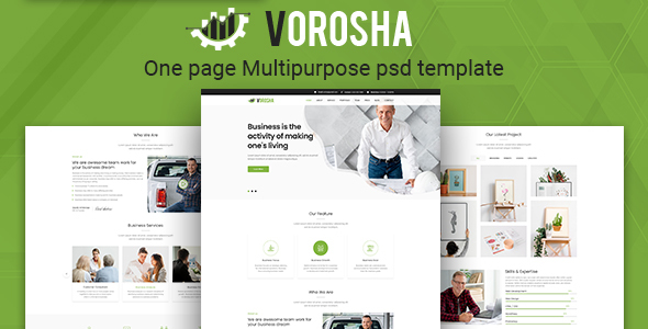 Vorosha - One Page Multipurpose PSD Template