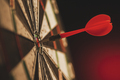 Successful bulls eye centre dart on a target - PhotoDune Item for Sale