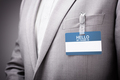 Businessman wearing Hello my name is tag - PhotoDune Item for Sale