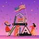 Students with Books and American Flag Learning - GraphicRiver Item for Sale