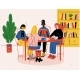Students Sitting Together at Table with Books - GraphicRiver Item for Sale