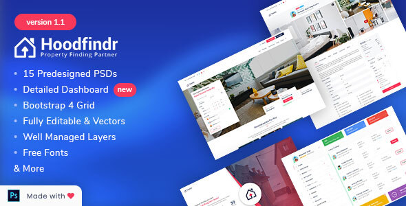 Hoodfindr - Property Booking PSD Template
