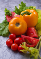 Fresh red and yellow tomatoes, sweet pepper and lettuce - PhotoDune Item for Sale