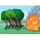 Cartoon Trees Are Very Afraid of Fire - GraphicRiver Item for Sale