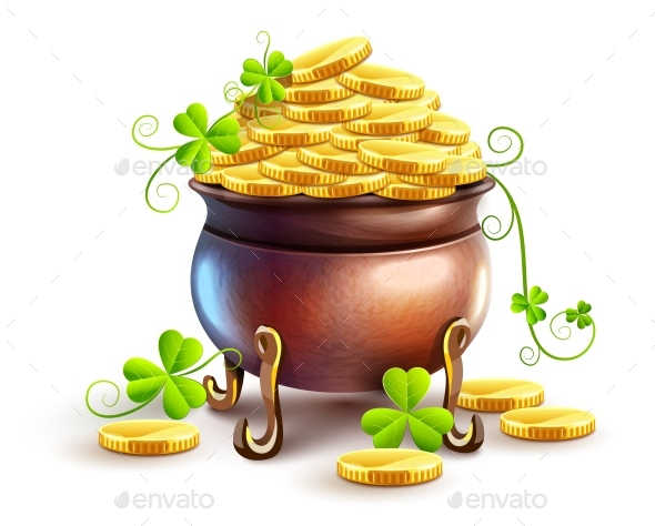 Pot with Gold Coins for Saint Patricks Day Holiday
