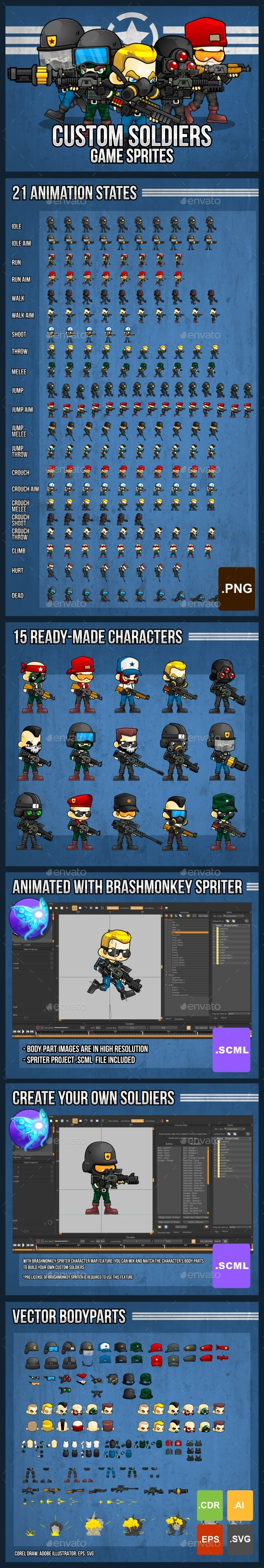 Game Sprites & Sheet Templates from GraphicRiver