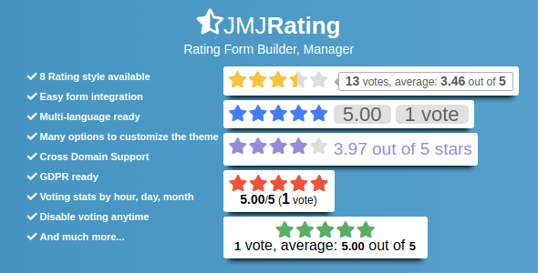 JMJRating: Rating Form Builder, Manager
