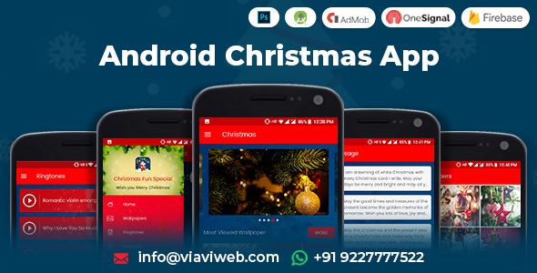 Android Christmas App (Xmas Wallpapers, Ringtones, Messages, Quiz) Download