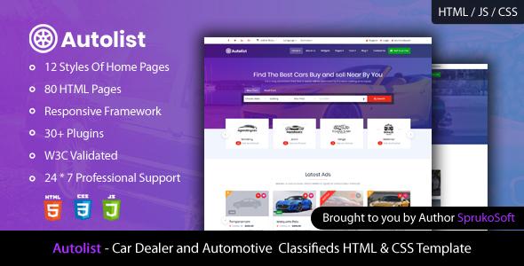 Autolist – Car Dealer and Classifieds HTML Template