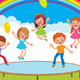 Group of Children Jumping on the Trampoline - GraphicRiver Item for Sale