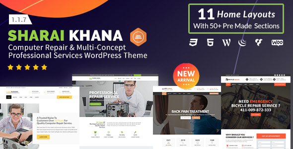 Sharai Khana - Computer Repair & Multi-Concept Professional Services WordPress Theme