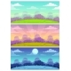 Cartoon Landscapes Set of Day Evening and Night - GraphicRiver Item for Sale