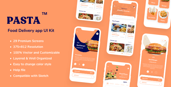 Pasta - Food Delivery app UI Kit