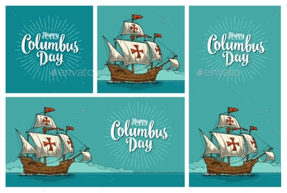 Posters for Happy Columbus Day Sailing Ship