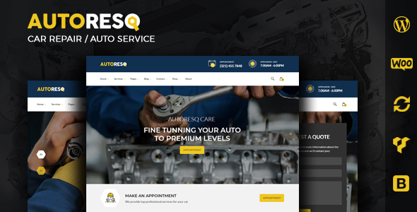 Autoresq - Car Repair and Auto Mechanic WordPress Theme
