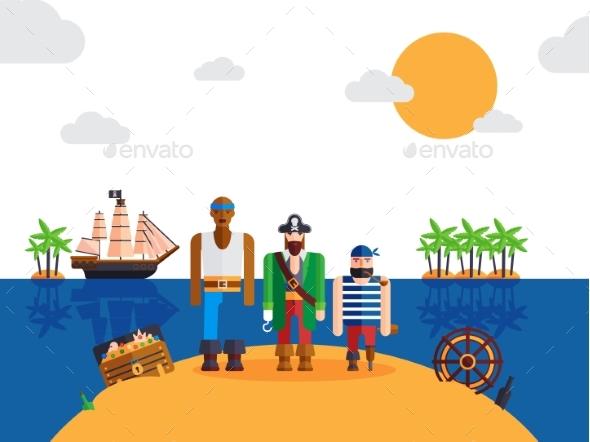 Pirates on Desert Island, Vector Illustration