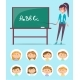 English Teacher Near Chalkboard with ABC Letters - GraphicRiver Item for Sale