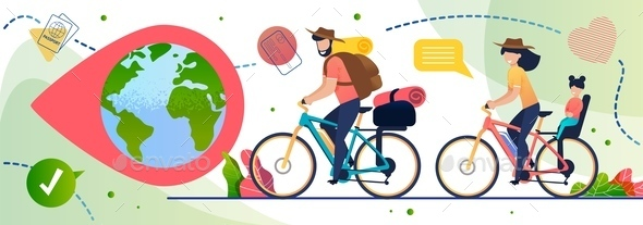 Eco Travelling on Bicycles Around World Poster