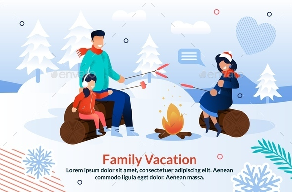 Family Joyfully Camping in Winter Season Poster