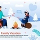 Family Joyfully Camping in Winter Season Poster - GraphicRiver Item for Sale